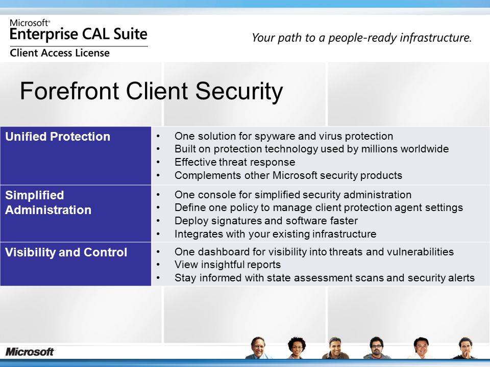 Unified Protection One solution for spyware and virus protection Built on protection technology used by millions worldwide Effective threat response Complements other Microsoft security products Simplified Administration One console for simplified security administration Define one policy to manage client protection agent settings Deploy signatures and software faster Integrates with your existing infrastructure Visibility and Control One dashboard for visibility into threats and vulnerabilities View insightful reports Stay informed with state assessment scans and security alerts Forefront Client Security