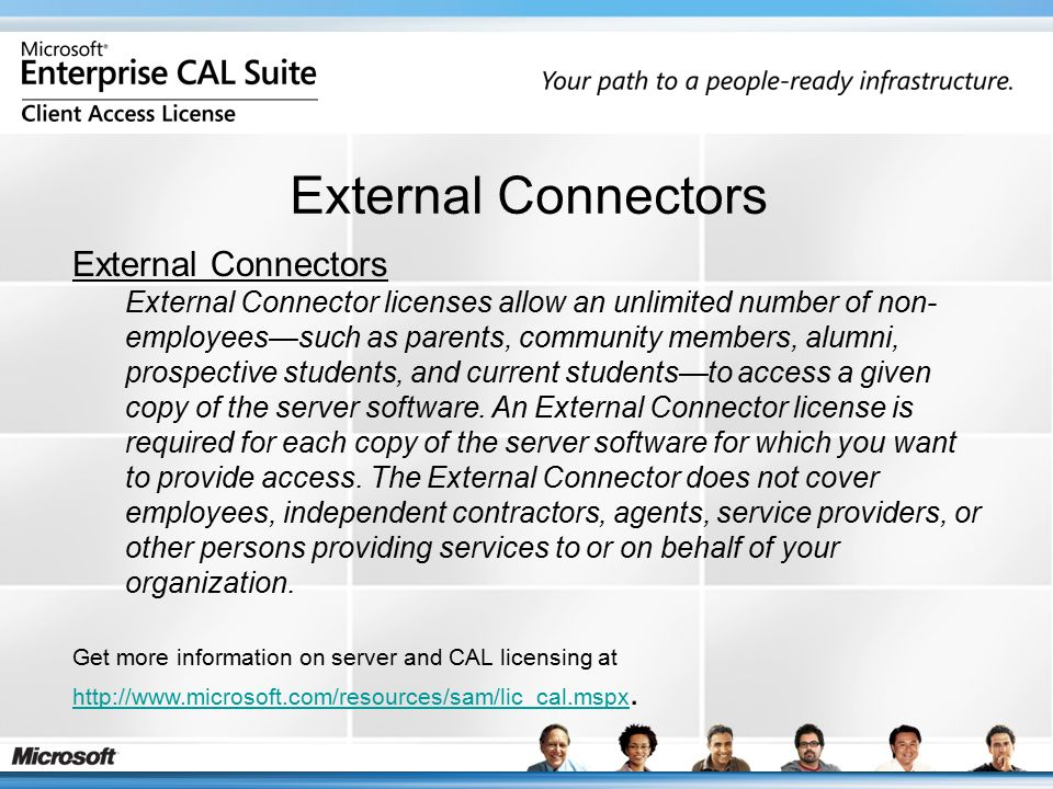 External Connectors External Connector licenses allow an unlimited number of non- employees—such as parents, community members, alumni, prospective st