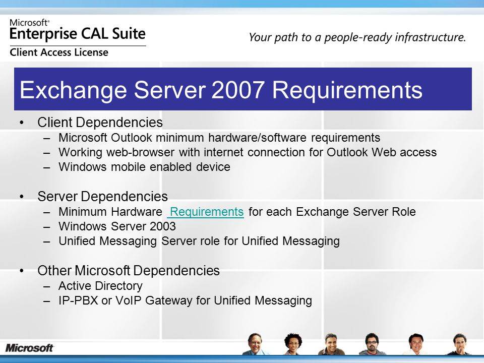 Client Dependencies –Microsoft Outlook minimum hardware/software requirements –Working web-browser with internet connection for Outlook Web access –Windows mobile enabled device Server Dependencies –Minimum Hardware Requirements for each Exchange Server Role Requirements –Windows Server 2003 –Unified Messaging Server role for Unified Messaging Other Microsoft Dependencies –Active Directory –IP-PBX or VoIP Gateway for Unified Messaging Exchange Server 2007 Requirements