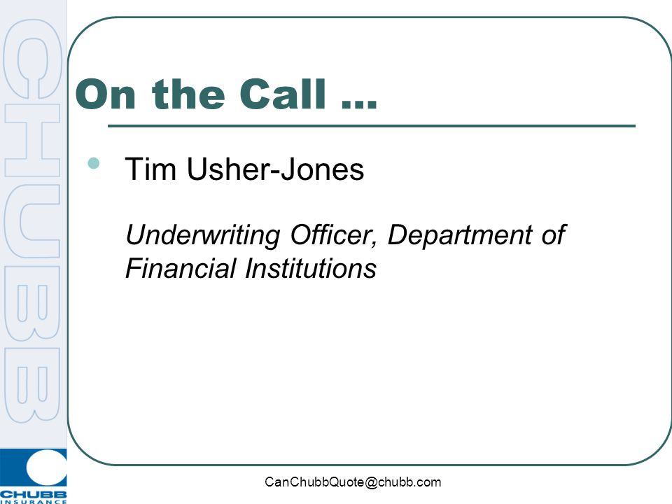"""Chubb's Department of Financial Institutions """"DFI for DBU"""" April 7, 2010"""