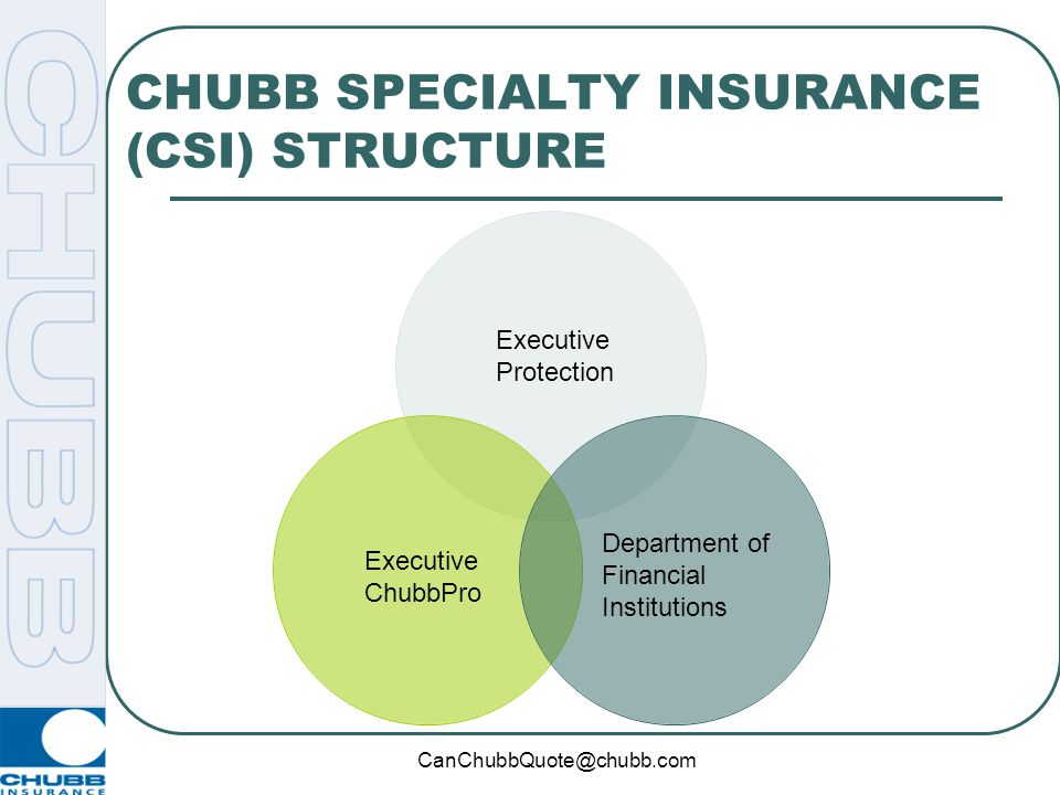CanChubbQuote@chubb.com CHUBB SPECIALTY INSURANCE (CSI) STRUCTURE Executive Protection Department of Financial Institutions Executive ChubbPro