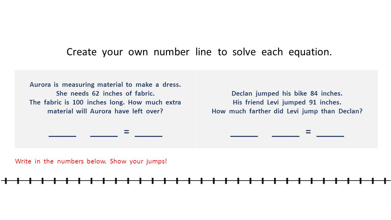 Create your own number line to solve each equation.