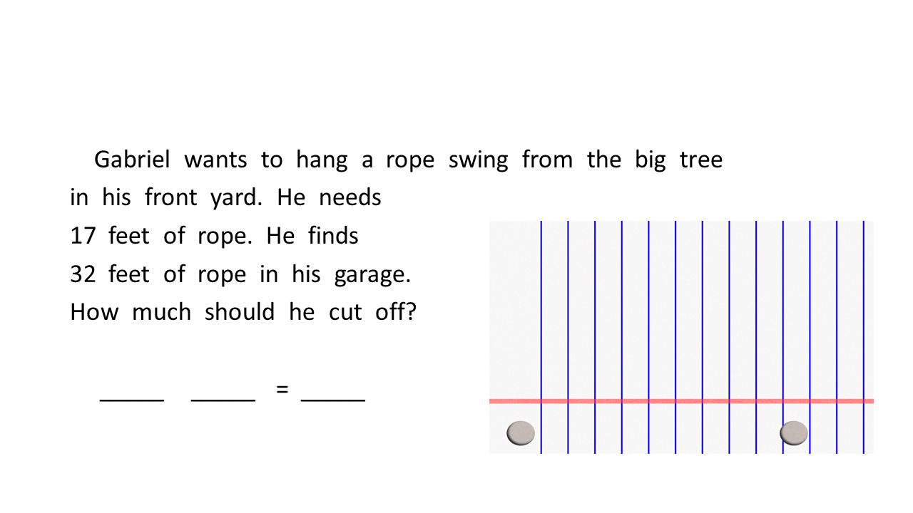 Gabriel wants to hang a rope swing from the big tree in his front yard.