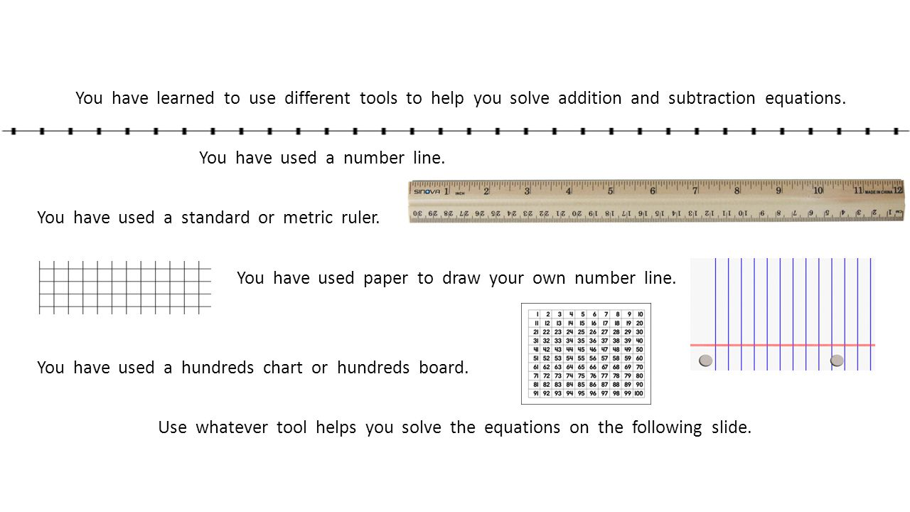 You have learned to use different tools to help you solve addition and subtraction equations.