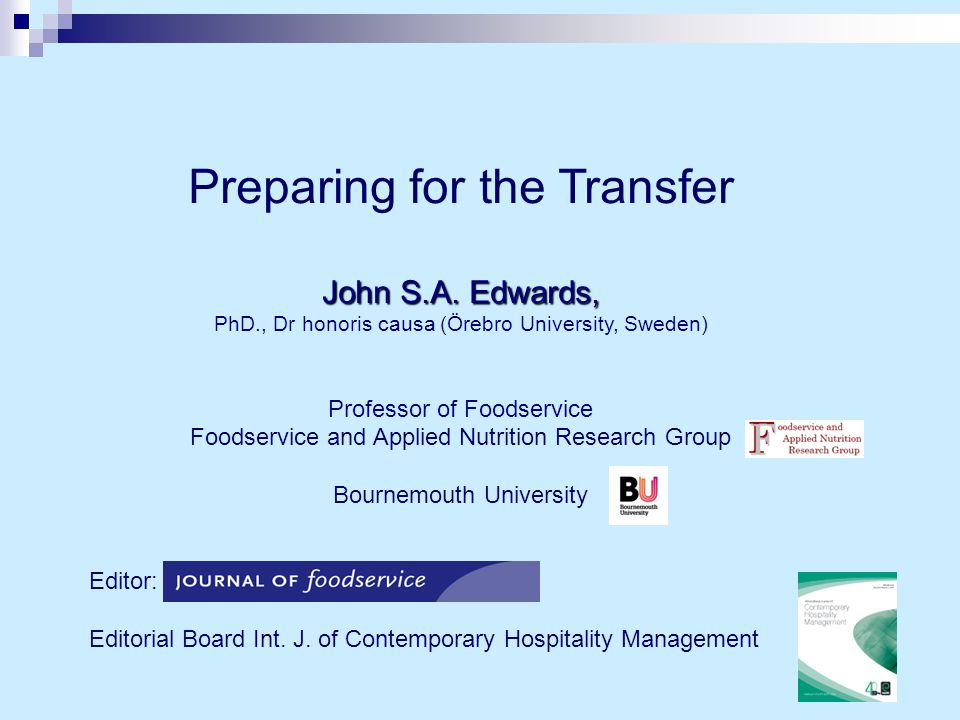 The purpose of the transfer  The process of the transfer  Preparation for the transfer  The dreaded day  The outcomes Outline