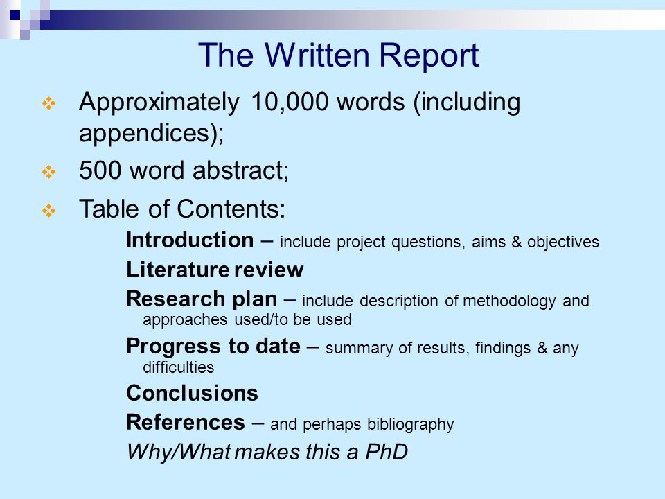 Preparation for the Viva  Know your way around the thesis;  Read through and try to anticipate likely questions/'difficulties' and formulate responses in your mind;  Have a 'run-though' with friends;  Find out about your examiners;  What are your publication plans.