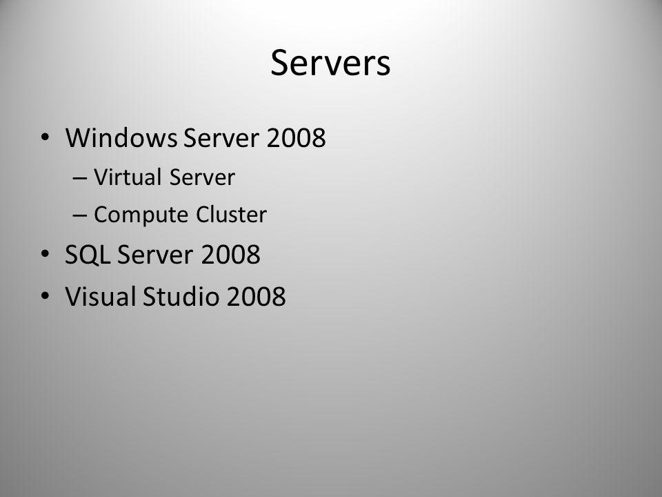 Servers Windows Server 2008 – Virtual Server – Compute Cluster SQL Server 2008 Visual Studio 2008