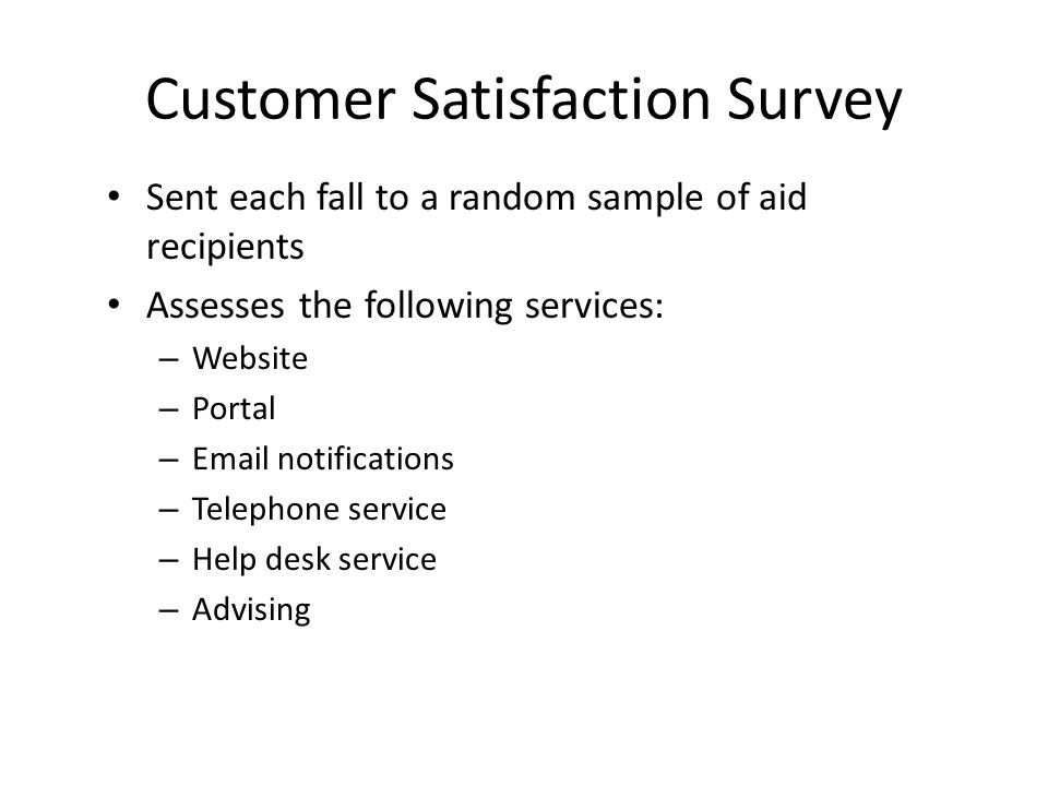 Customer Satisfaction Survey Sent each fall to a random sample of aid recipients Assesses the following services: – Website – Portal – Email notifications – Telephone service – Help desk service – Advising