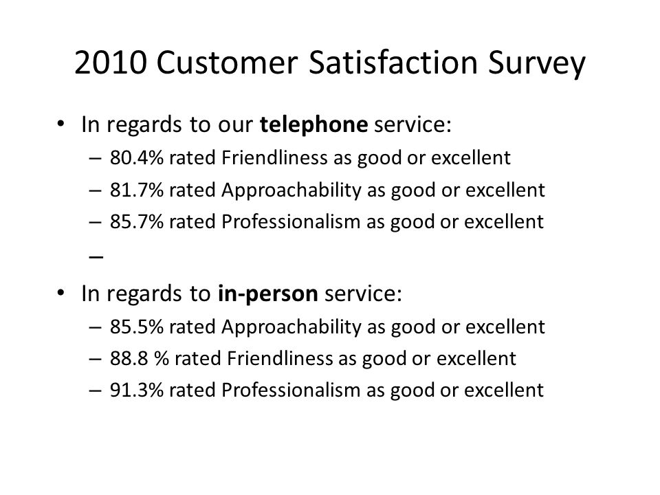 2010 Customer Satisfaction Survey In regards to our telephone service: – 80.4% rated Friendliness as good or excellent – 81.7% rated Approachability as good or excellent – 85.7% rated Professionalism as good or excellent – In regards to in-person service: – 85.5% rated Approachability as good or excellent – 88.8 % rated Friendliness as good or excellent – 91.3% rated Professionalism as good or excellent