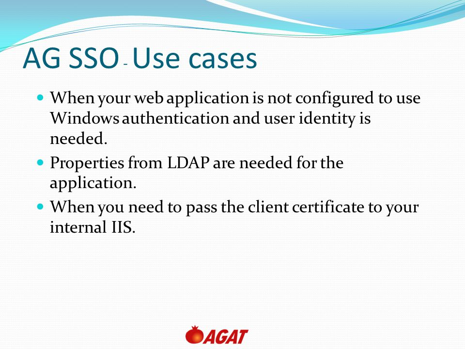 AG SSO - Use cases When your web application is not configured to use Windows authentication and user identity is needed.