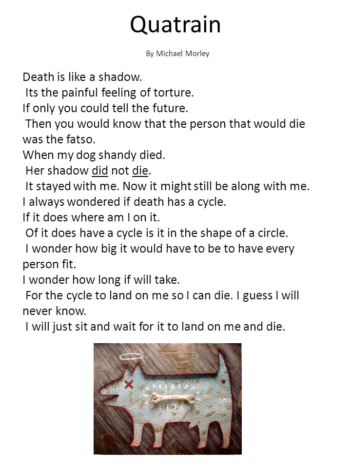 Quatrain Death is like a shadow. Its the painful feeling of torture. If only you could tell the future. Then you would know that the person that would