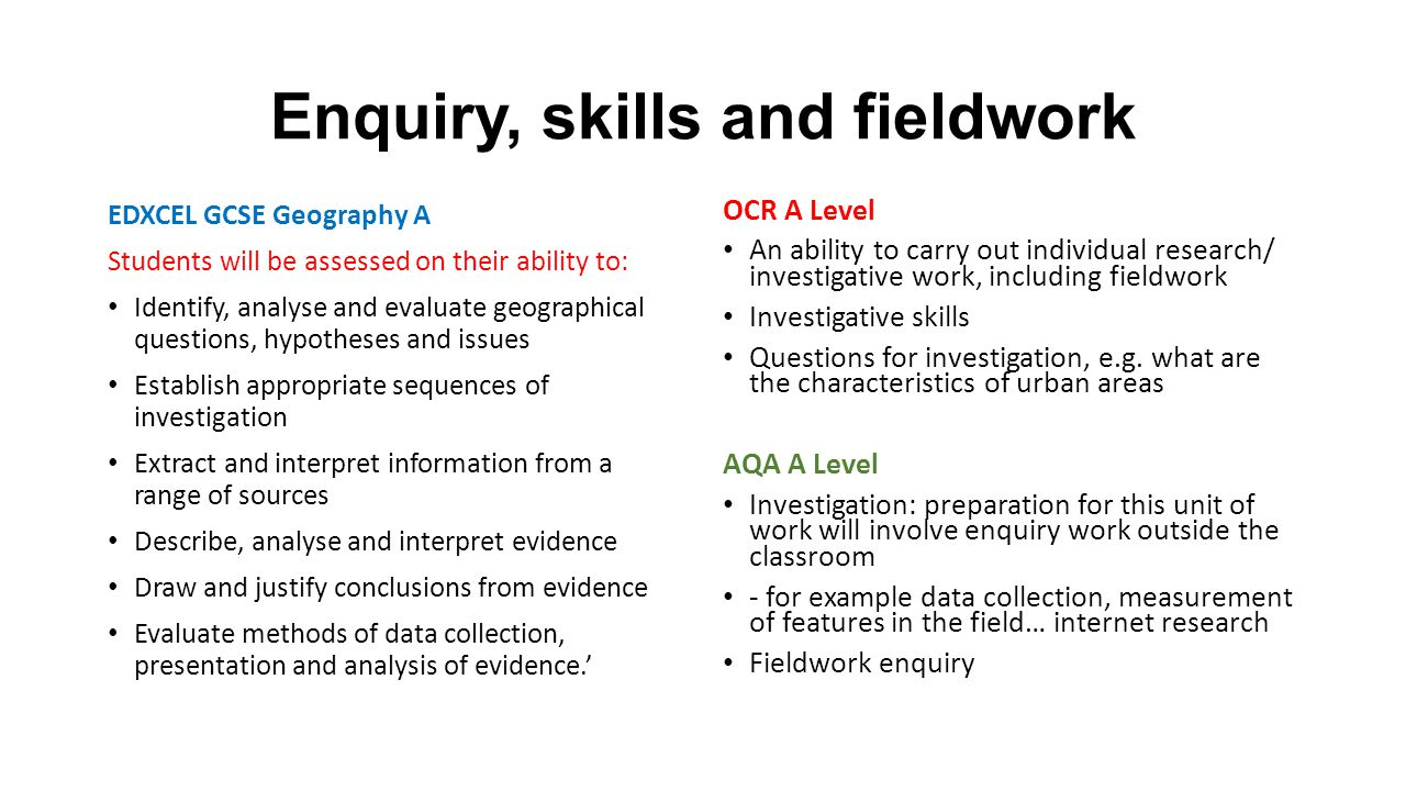 Enquiry, skills and fieldwork EDXCEL GCSE Geography A Students will be assessed on their ability to: Identify, analyse and evaluate geographical questions, hypotheses and issues Establish appropriate sequences of investigation Extract and interpret information from a range of sources Describe, analyse and interpret evidence Draw and justify conclusions from evidence Evaluate methods of data collection, presentation and analysis of evidence.' OCR A Level An ability to carry out individual research/ investigative work, including fieldwork Investigative skills Questions for investigation, e.g.