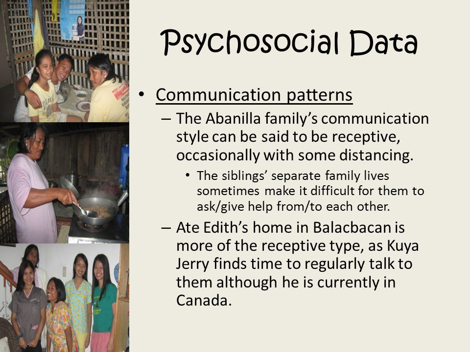 Psychosocial Data Communication patterns – The Abanilla family's communication style can be said to be receptive, occasionally with some distancing. T