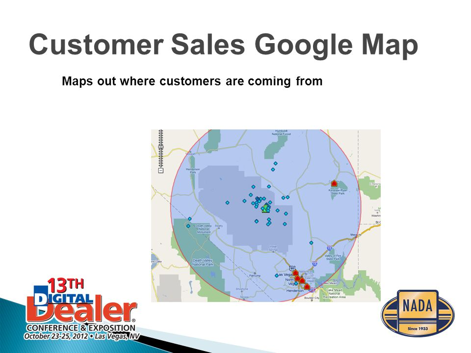 Customer Sales Google Map Maps out where customers are coming from
