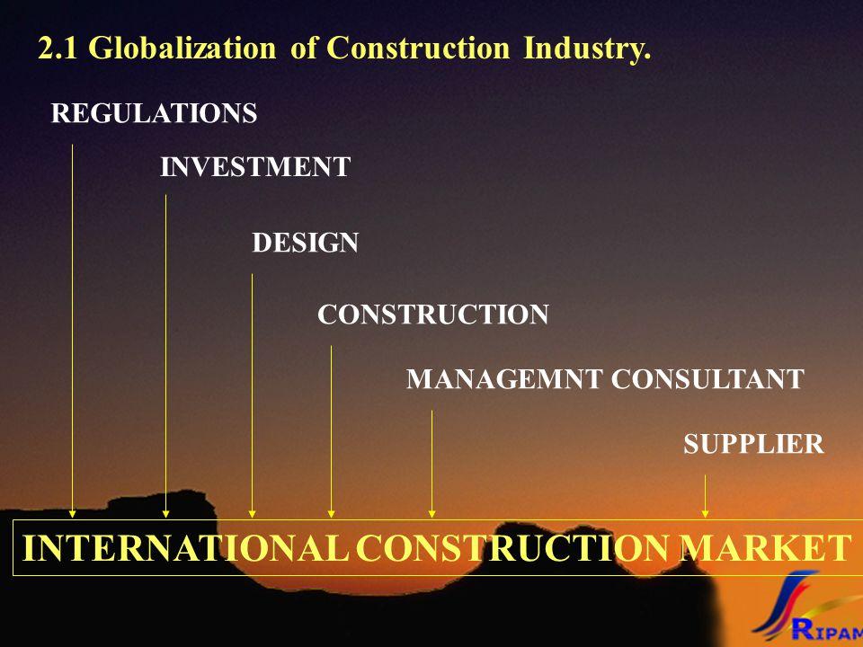 2.1 Globalization of Construction Industry. INTERNATIONAL CONSTRUCTION MARKET INVESTMENT REGULATIONS DESIGN CONSTRUCTION MANAGEMNT CONSULTANT SUPPLIER