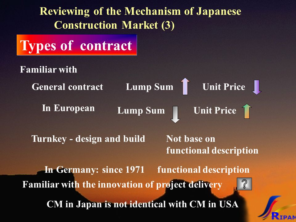 Reviewing of the Mechanism of Japanese Construction Market (3) Types of contract General contract Familiar with Lump SumUnit Price Turnkey - design and buildNot base on functional description In European Lump SumUnit Price In Germany: since 1971 functional description CM in Japan is not identical with CM in USA Familiar with the innovation of project delivery