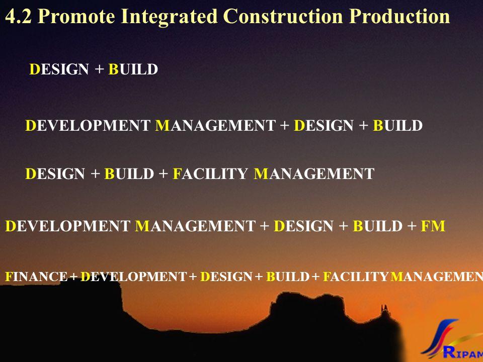 4.2 Promote Integrated Construction Production DESIGN + BUILD DEVELOPMENT MANAGEMENT + DESIGN + BUILD DESIGN + BUILD + FACILITY MANAGEMENT FINANCE + DEVELOPMENT + DESIGN + BUILD + FACILITY MANAGEMENT DEVELOPMENT MANAGEMENT + DESIGN + BUILD + FM