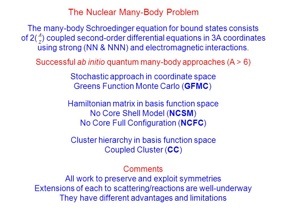 The Nuclear Many-Body Problem The many-body Schroedinger equation for bound states consists of 2( ) coupled second-order differential equations in 3A coordinates using strong (NN & NNN) and electromagnetic interactions.