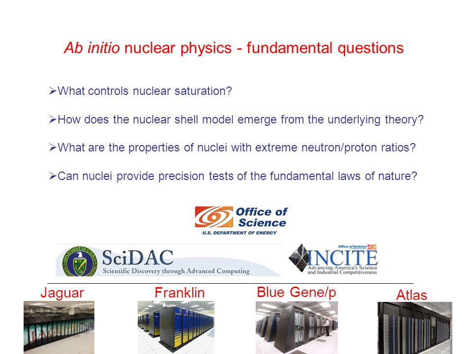 Ab initio nuclear physics - fundamental questions  What controls nuclear saturation.