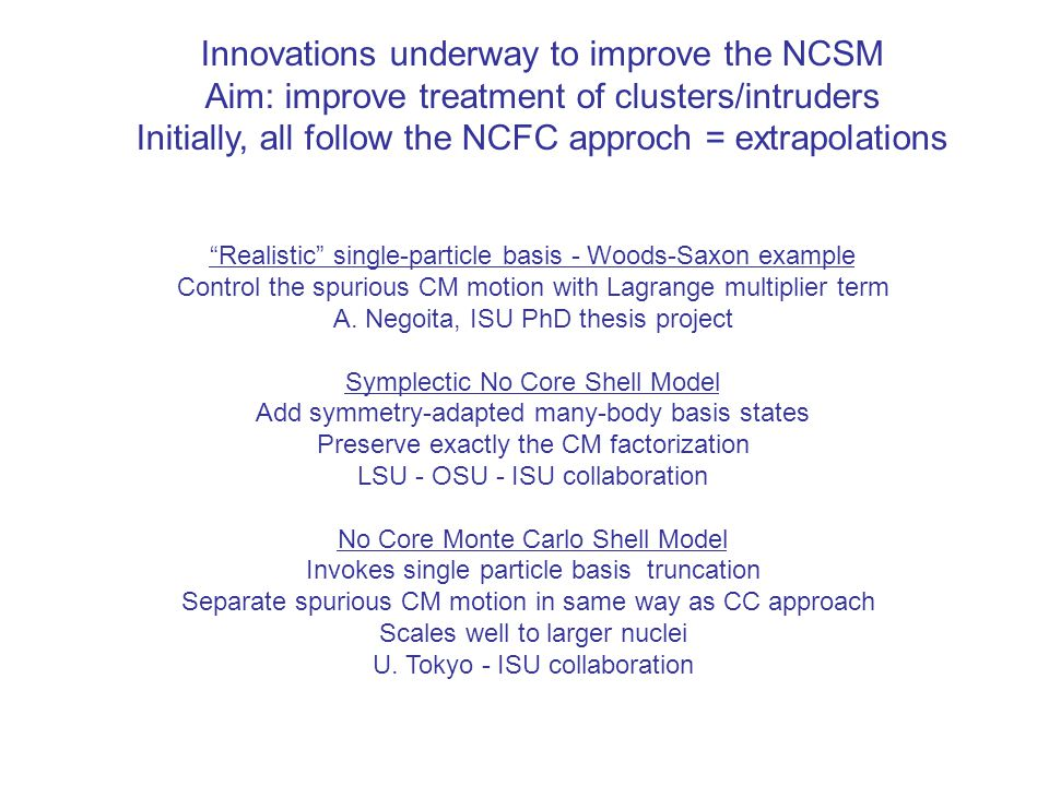 Innovations underway to improve the NCSM Aim: improve treatment of clusters/intruders Initially, all follow the NCFC approch = extrapolations Realistic single-particle basis - Woods-Saxon example Control the spurious CM motion with Lagrange multiplier term A.