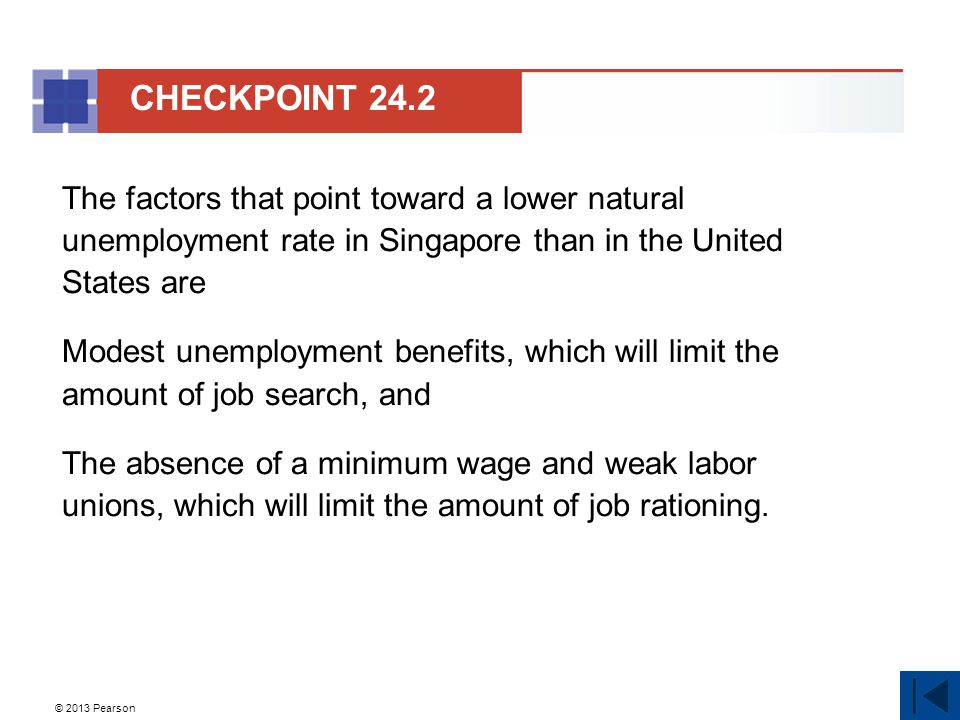 © 2013 Pearson The factors that point toward a lower natural unemployment rate in Singapore than in the United States are Modest unemployment benefits