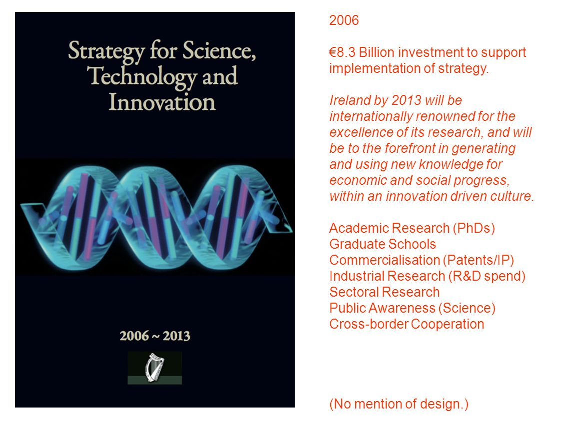 2008 Innovation Policy Statement & Framework Innovation is the creative process of exploiting new ideas 10 Key Policy Areas: Knowledge Creation Knowledge Transfer Skills Development Public Procurement Networks, Clusters, Gateways IP Protection & Management Services & Emerging Sectors Entrepreneurship & Business Expansion Partnership & Workplace Innovation Competition and Better Regulation