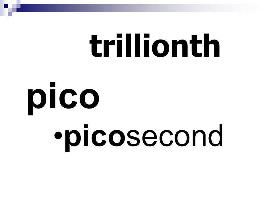trillionth pico picosecond