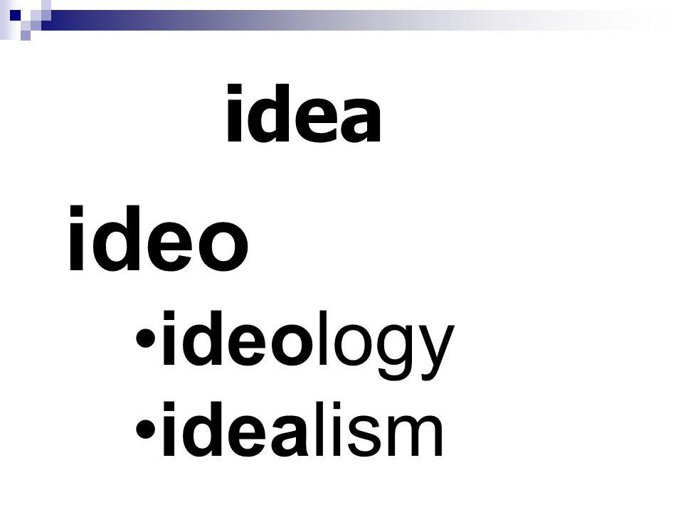 idea ideo ideology idealism