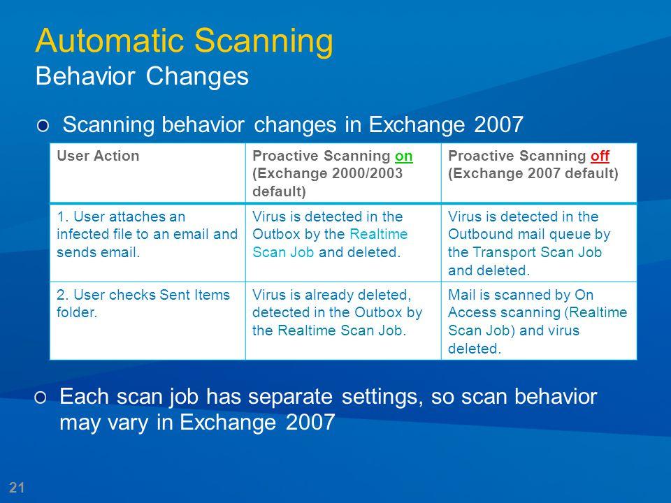 21 Automatic Scanning Behavior Changes Scanning behavior changes in Exchange 2007 User ActionProactive Scanning on (Exchange 2000/2003 default) Proact