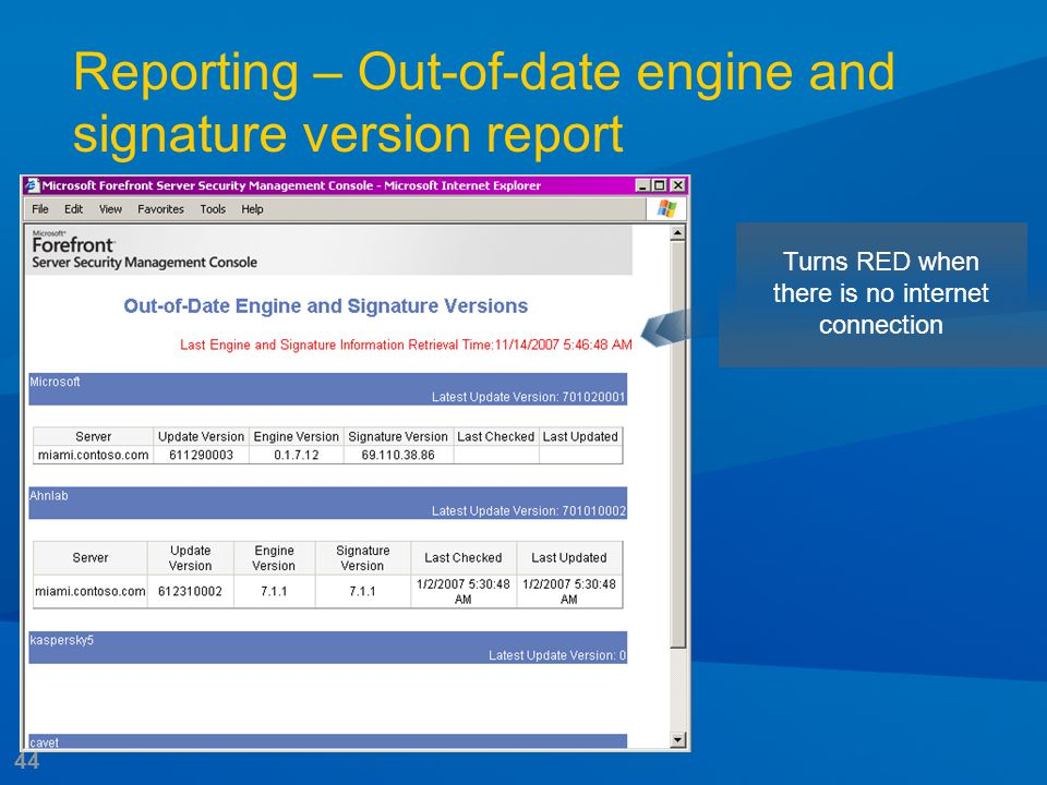 44 Reporting – Out-of-date engine and signature version report Turns RED when there is no internet connection