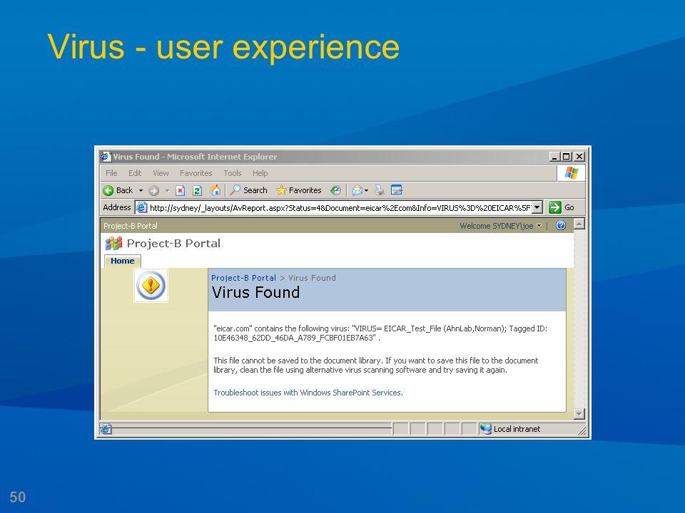 50 Virus - user experience