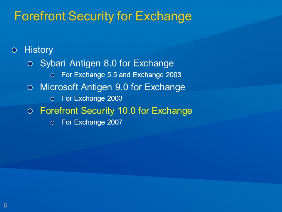 6 History Sybari Antigen 8.0 for Exchange For Exchange 5.5 and Exchange 2003 Microsoft Antigen 9.0 for Exchange For Exchange 2003 Forefront Security 1