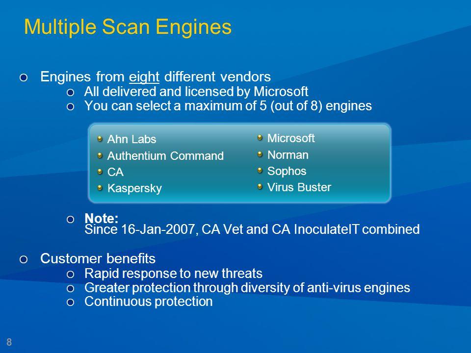9 Multiple Scan Engines Results from AV-test.org (2006) Signature response times in hours MM/YY VIRUSFF Set 1FF Set 2FF Set 3FF Set 4 FF Set 5Vendor A Vendor B Vendor C 0406 Mytob.NQ@mm 1.51.0 3.19.9 17.42.1 0406 Mytob.NQ@mm 1.01.11.0 28.1 11.63.5 0406 Spybot!04C2 23.01.023.025.3 1.00 29.939.0 0406 Nugache.a 1.025.51.0 34.1 12.948.1 0506 Numuen.F 024.400 01.0 10.315.0 0506 Numuen.H 1.031.71.0 103.8 251.9114.8 0506 Numuen.G 3.28.23.2 1.0 151.8469.0 0506 Banwarum.C@mm 87.51.087.5 1.0116.7 73.0129.3 0506 Banwarum.B@mm 12.11.01.8 1.0116.7 22.432.9 0506 Rbot!E905 0000 01,141.8 217.61.0 0606 Bagle.EG 0000 00 7.30 0606 Bagle.EH@mm 01.300 00 18.40 0606 Bagle.EG@mm 03.600 1.00 26.50 0606 Bagle.LY@mm 0000 00 6.42.5 0706 Feebs.gen@mm 0000 00 0503.8 0706 Feebs.EU 01.000 052.3 173.239.0 0706 Virut.A 0000 00 01,317.0 < 5 hours between 5 - 24 hours > 24 hours