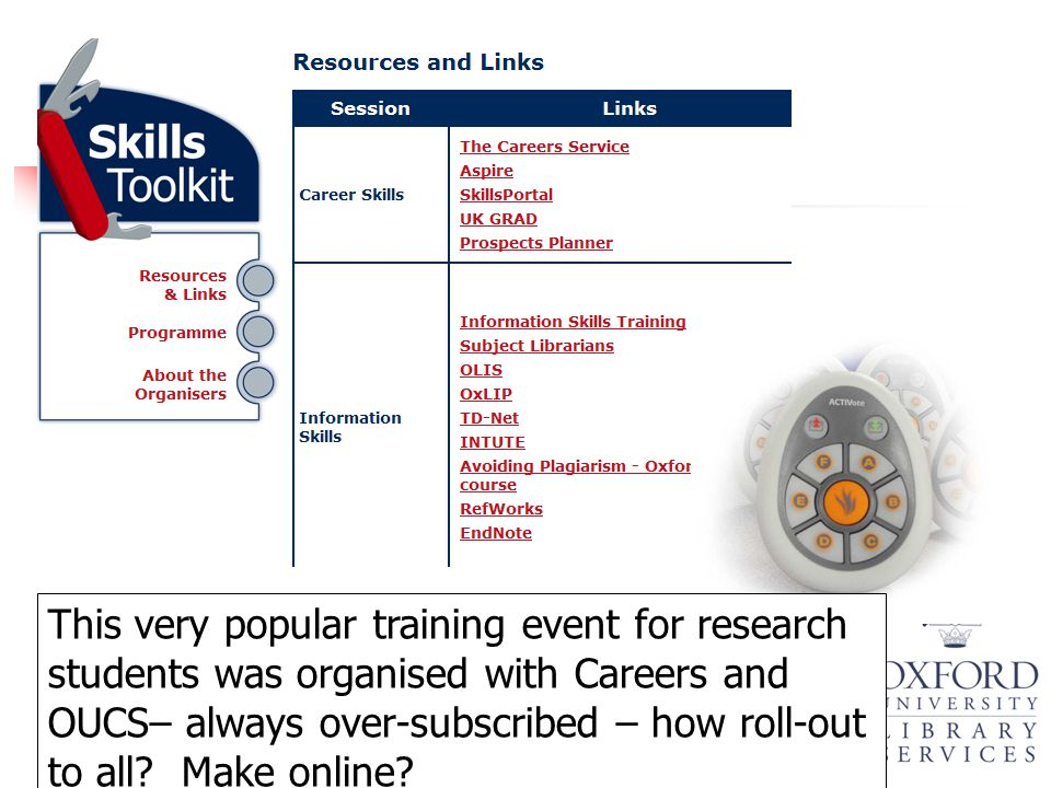 This very popular training event for research students was organised with Careers and OUCS– always over-subscribed – how roll-out to all? Make online?
