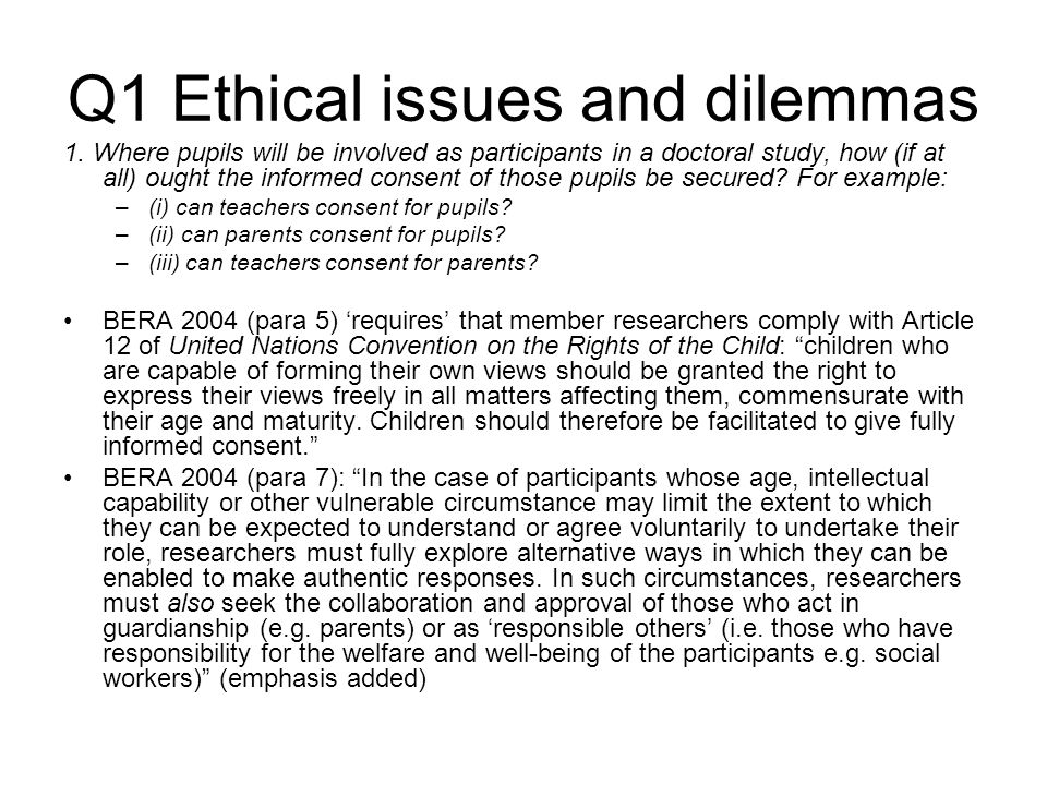 Q1 Ethical issues and dilemmas 1.