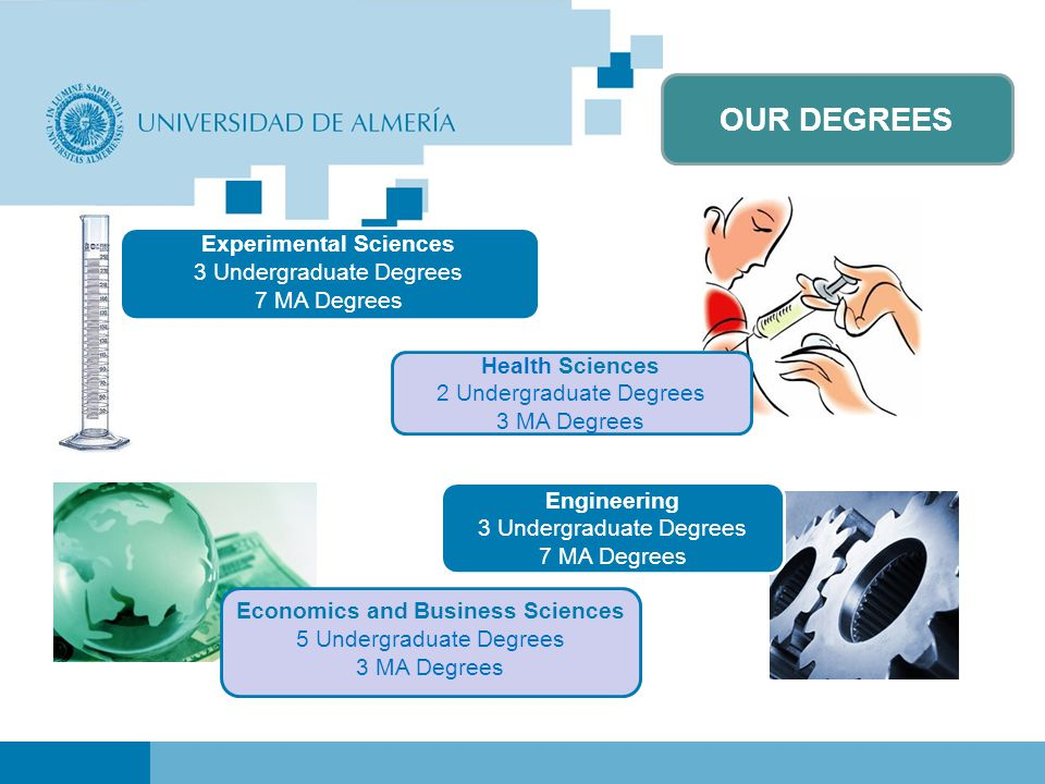 OUR DEGREES Experimental Sciences 3 Undergraduate Degrees 7 MA Degrees Economics and Business Sciences 5 Undergraduate Degrees 3 MA Degrees Health Sciences 2 Undergraduate Degrees 3 MA Degrees Engineering 3 Undergraduate Degrees 7 MA Degrees