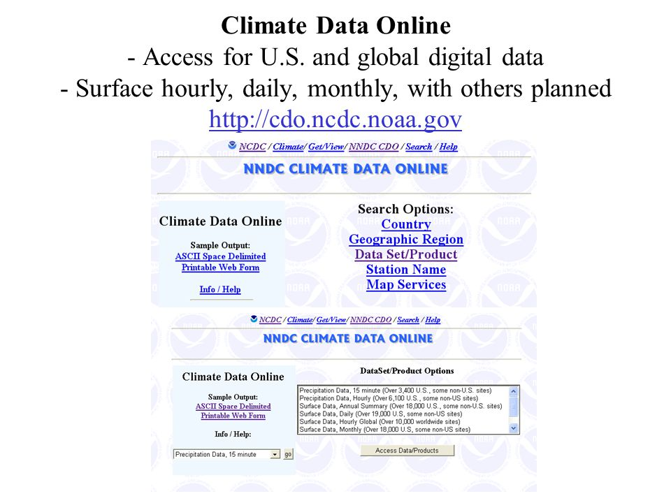 Climate Data Online - Access for U.S. and global digital data - Surface hourly, daily, monthly, with others planned http://cdo.ncdc.noaa.gov