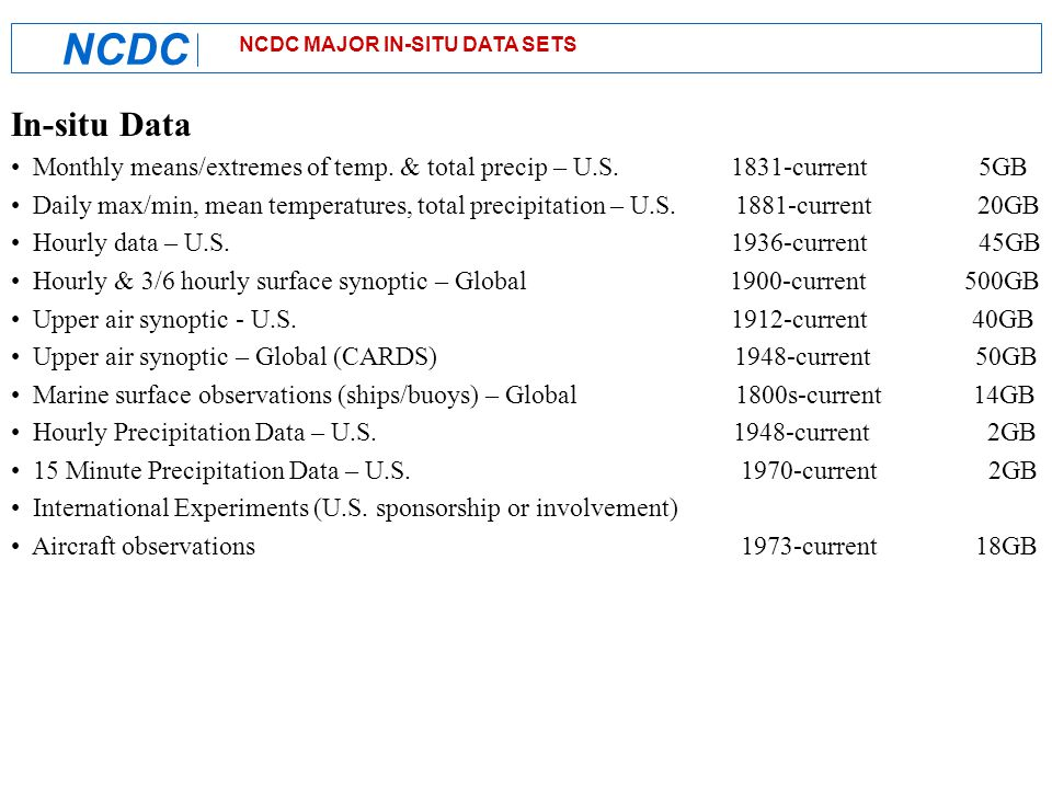 NCDC Data Access NNDC On-line Store & Climate Data On-line Hierarchical Data Storage System Tape Robotics Data Files Applications (Low-usage in-situ data, High-res gridded and remote-sensing data) Oracle/RAID Data Files Applications (High-usage in-situ data) On-line Service (Climate data) Off-line Service (All datasets) Off-line Service (CDROM's, etc) On-line Service (NEXRAD)
