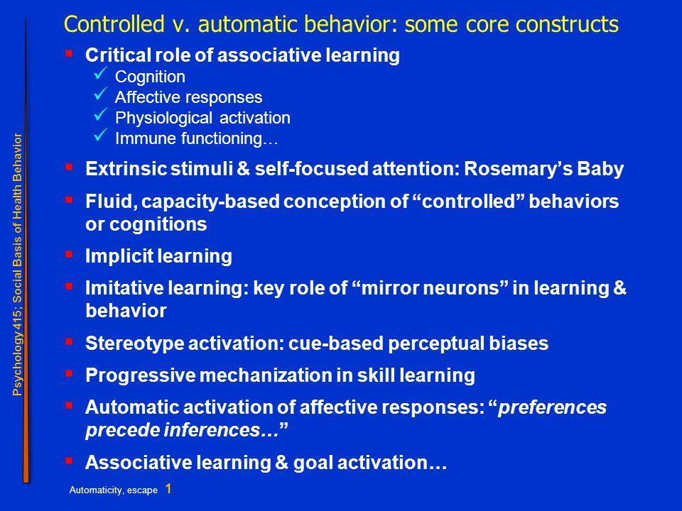 Psychology 415; Social Basis of Health Behavior Automaticity, escape 2 Bargh; goal activation