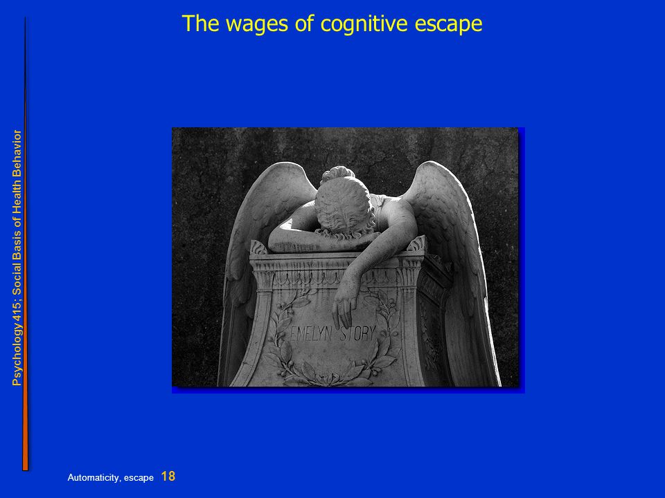 Psychology 415; Social Basis of Health Behavior Automaticity, escape 18 The wages of cognitive escape