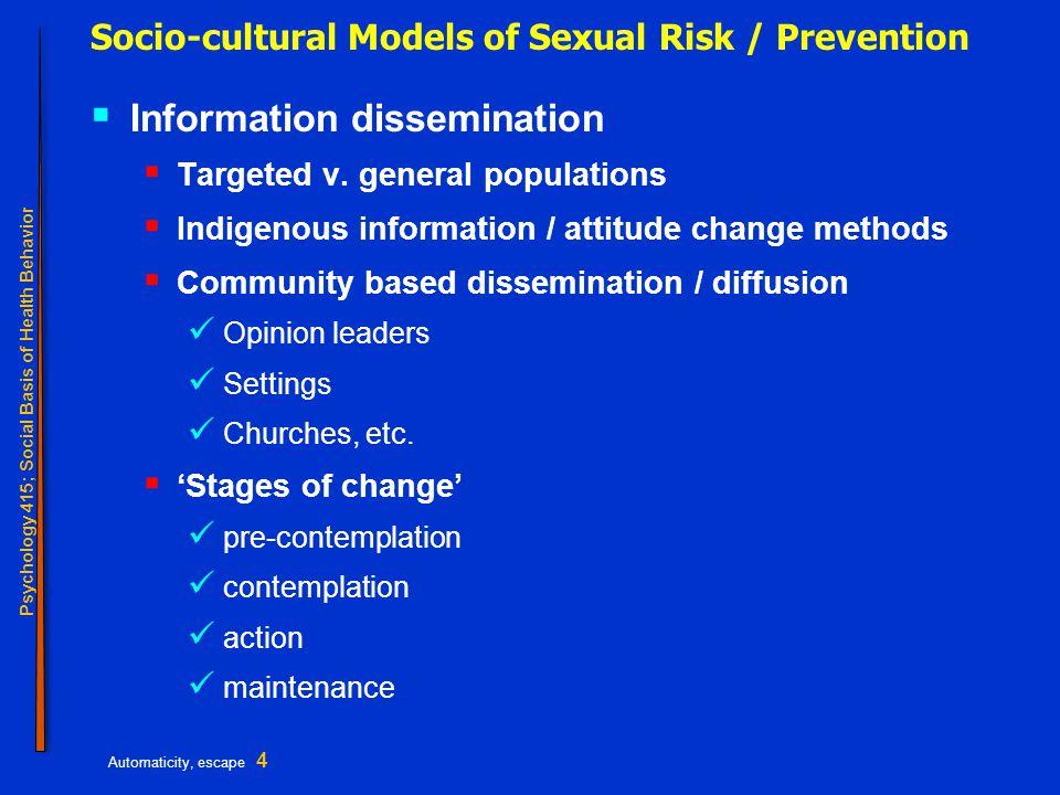 Psychology 415; Social Basis of Health Behavior Automaticity, escape 5 Socio-cultural models, cont.