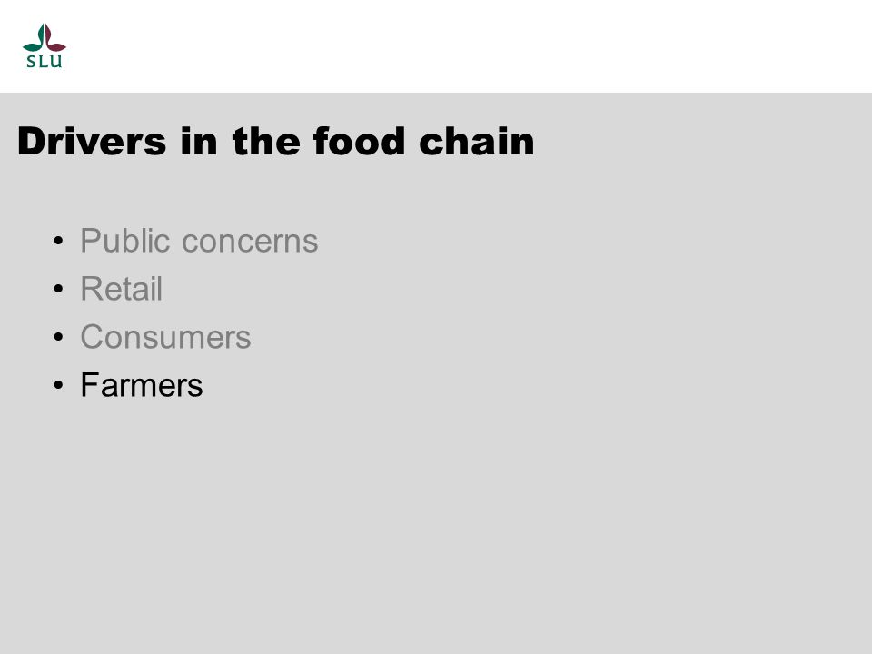 Drivers in the food chain Public concerns Retail Consumers Farmers