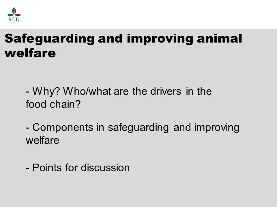 Public concerns Farmers Retail Consumers Legislators Safeguard and improve Animal Welfare 'Drivers' in the food chain