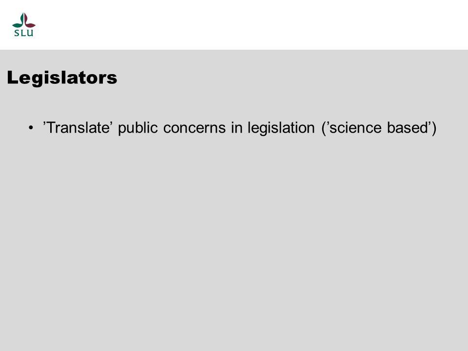 'Translate' public concerns in legislation ('science based') Legislators