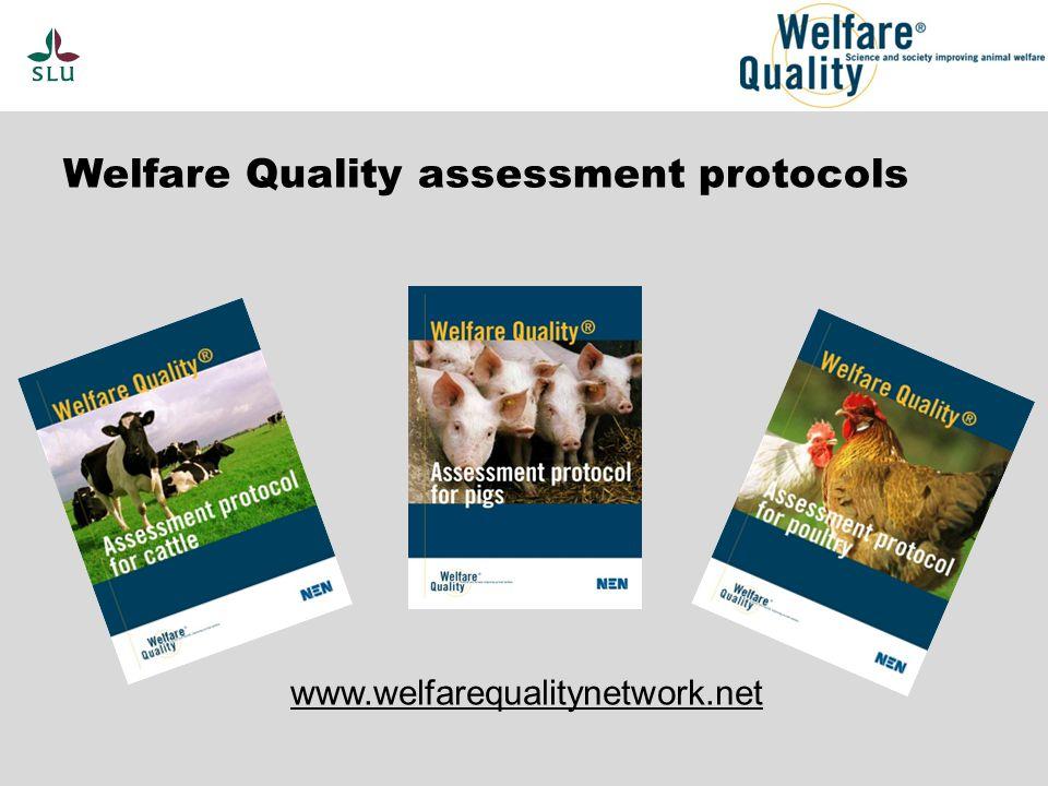 Welfare Quality assessment protocols www.welfarequalitynetwork.net