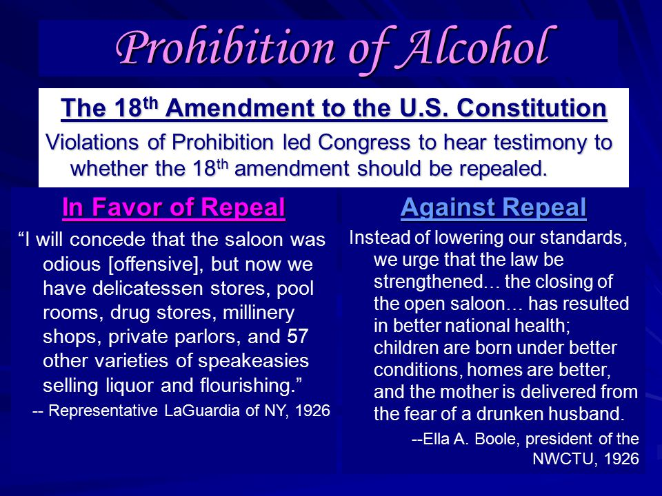 Prohibition of Alcohol The 18 th Amendment to the U.S.