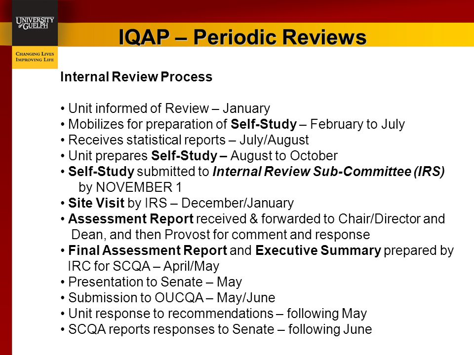 IQAP – Periodic Reviews Internal Review Process Unit informed of Review – January Mobilizes for preparation of Self-Study – February to July Receives