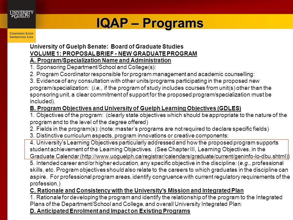 IQAP – Programs University of Guelph Senate: Board of Graduate Studies VOLUME 1: PROPOSAL BRIEF - NEW GRADUATE PROGRAM A. Program/Specialization Name