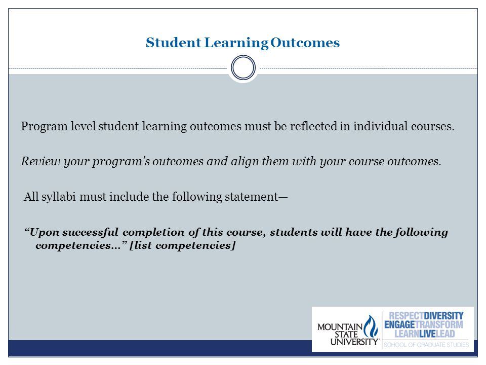 Student Learning Outcomes Program level student learning outcomes must be reflected in individual courses. Review your program's outcomes and align th