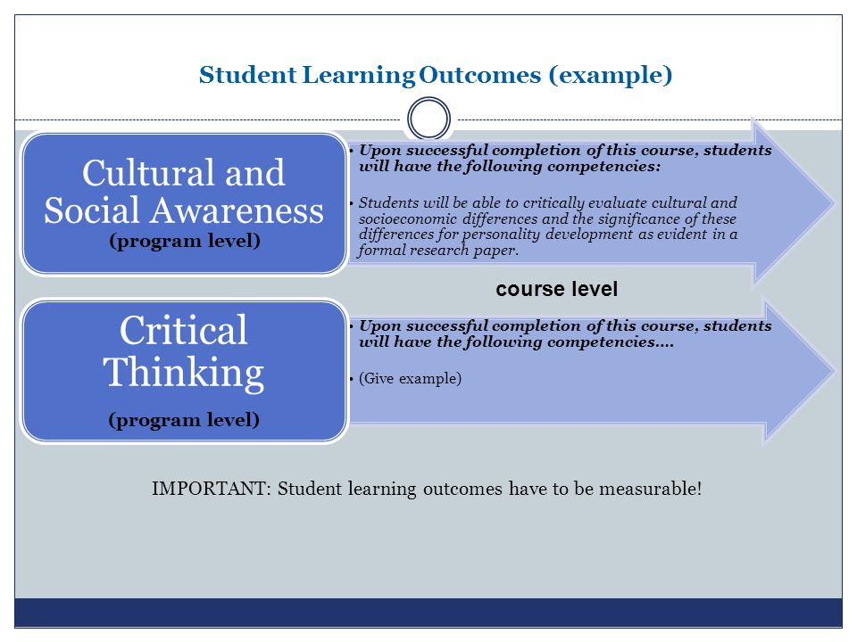 Student Learning Outcomes (example) IMPORTANT: Student learning outcomes have to be measurable.
